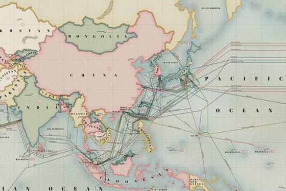 海缆登陆点分布图