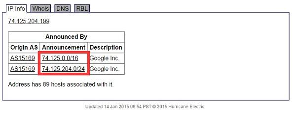 Google IP地址 BGP广播信息